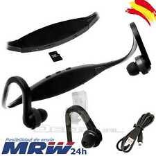 Reproductor MP3 Auriculares Deportivos Micro SD USB Radio FM Sport Running Negro