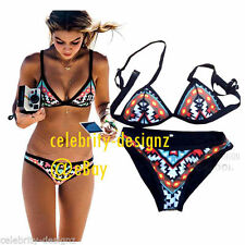 Nylon Geometric Swimwear for Women