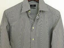 AA111 Men Eton Slim White Grey Striped Cotton Formal Shirt Size 40 15.5