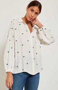 New Mint Velvet Ivory Circle Embroidered Crepe Shirt Blouse RRP £79 Sizes 6 & 8