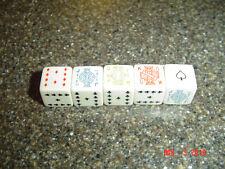 Vintage Set Of 5 Poker Dice - 9 Clubs 10 Diamonds J Q K Faces & Ace Of Spades