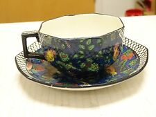 ART DECO ROYAL DOULTON BIRDS BLUE CHINZ PERSIAN PARROTS COFFEE TEA CUP & SAUCER