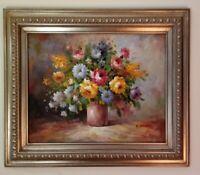 T. DENVER Signed Oil On Canvas Florals in Vase. VERY NICE Frame Measures 23x27