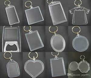 clear blank  Plastic BLANK KEY RINGS photo Insert (ALL sizes and shapes) UK