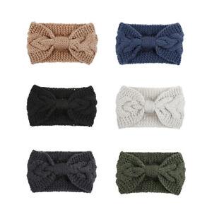 Femmes Bow Tricoté Bandeau hiver Noeud Crochet Cheveux Bande Chaud Turban SH