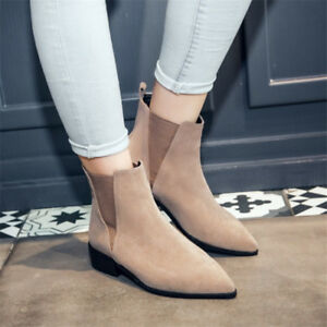 Women Retro Chelsea Boots Pointed Toe Chunky Heel Suede Casual Elegant Shoes