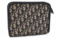 Authentic Christian Dior Trotter Pouch Canvas Navy A6878