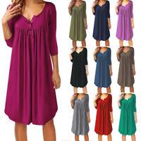 Womens Summer T Shirt Dress Plus Size Casual 3/4 Sleeve V Neck Loose Swing Dress