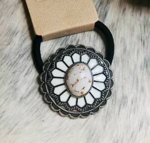 White Turquoise Stone Concho Ponytail Holder Hair Tie COWGIRL WESTERN BOHO
