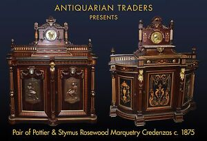 Pair Pottier & Stymus Inlaid Rosewood Cabinets American Victorian, c.1875 #7809