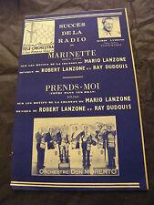 Partition Marinette Mario Lanzone Prends moi Orchestre Don Morerto 1955