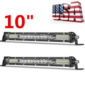 2X 10'' inch Slim LED Work Light Bar Combo Spot Flood Driving OffRoad SUV ATV US