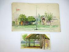 Zwei Aquarell Bilder auf Papier um 1918-1920 datiert signiert