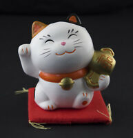 Figura Gato Japonés 8cm Blanco Fabricado en Japón Maneki Neko Fisch Money 40675