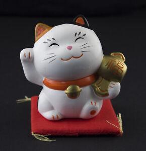 Figurina Gatto Giapponese 8cm Bianco Made IN Japan Maneki Neko Money 40675