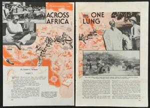 """""""Across Africa on One Lung"""" James Wilson 1938 article Three-Wheeling Through Afr"""