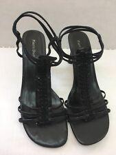 Pierre Dumas 7.5 7 1/2 Womens Black Heels Strapy Royal Good Condition Dressy
