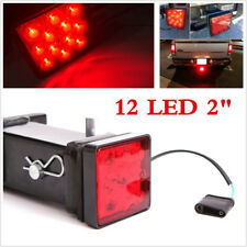 "Red Lens 12-LED Brake Light Trailer Hitch Cover Fit Towing & Hauling 2"" Size"