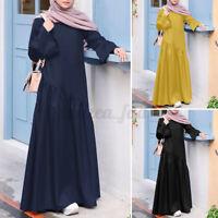 Womens Puff Sleeve Layered Casual Loose Abaya Muslim Kaftan Maxi Dress Plus Size