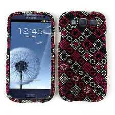 For Samsung Galaxy S III 3 S3 Phone Case Pink Black Diamond Dots Faceplate Cover