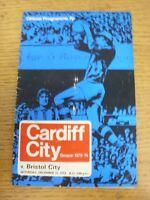15/12/1973 Cardiff City v Bristol City  (Creased, Folded, Worn, Score Noted)