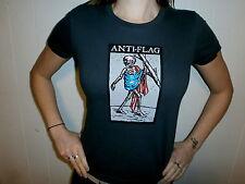 ANTI FLAG T SHIRT Punk Political Activism Liberal Skeleton War America Girls