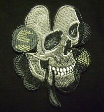 PIRATE SKULL CLOVER TACTICAL ARMY MORALE MILITARY BIKER BADGE SWAT IRON ON PATCH