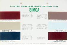 1966 SIMCA TEINTES DE PEINTURE VRAIS COLORIS VALENTINE