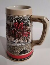 BUDWEISER CLYDESDALE BEER STEIN MUG VINTAGE 1988 HOLIDAY HARNESS ANHEUSER BUSCH