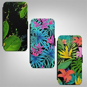 Tropical Palms Flowers Leafs Floral WALLET FLIP PHONE CASE COVER