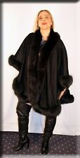 New Black Cashmere Cape Black Fox Fur Trim Efurs4less