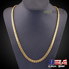 Chain Necklace Hip-Hop Style Men Jewelry 5mm 24Inch 18k Yellow Gold Plated Snake