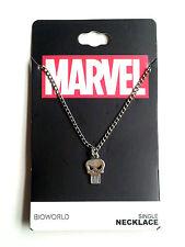 Marvel Comics PUNISHER SKULL Symbol Icon Logo, Silver Necklace Chain & Pendant