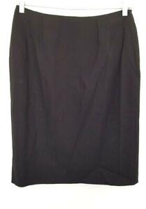Vintage 90's ANTHEA CRAWFORD women's Designer Black Wool Basic Pencil Skirt 10