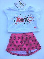 Build a Bear Teddy Bear Clothing - Girls XOXO Skirt Outfit 2 pc. - New