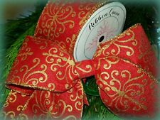 """RED BAROQUE GOLD  WIRE WIRED EDGE BURLAP RIBBON 2.5"""" CHRISTMAS GLITTER VINTAGE"""