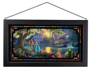 Thomas Kinkade Studios The Princess and the Frog 13 x 23 Framed Stained Glass