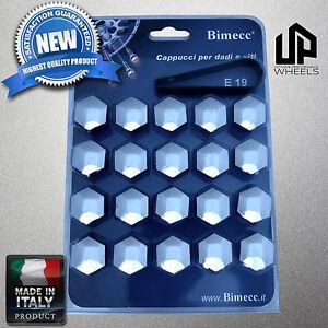 (20) NEW 19MM HEX CHROME CAP COVERS LUG BOLTS NUT CHRYSLER CHEVY WHEEL RIM ITALY