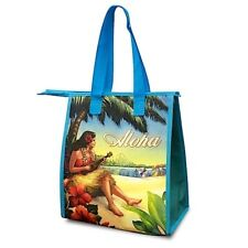 NWT VINTAGE HAWAII HULA GAL REUSABLE INSULATED LUNCH FOOD TOTE BAG ZIPPER TOP