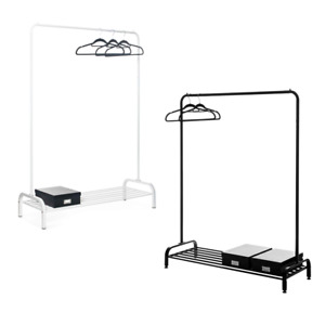 Clothes Rail for Bedroom With Shoe Storage Rack Black White Clothes Hanging Rail