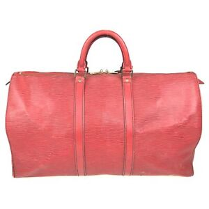 100% Authentic Louis Vuitton Epi Keepall 50 Red M42967 [Used] {09-0075}