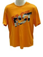 New NIKE RUNNING Mens DriFit StayCool Ventilated Recycled Gym Top Shirt Orange M