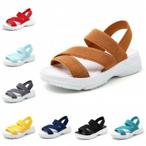 Summer Womens Slingback Thick Bottom Ankle Strap Elastic Sports Sandals Shoes D