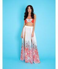 2a088f5b43597 Forever Unique Capri Red White Floral Beach Thigh Split Kaftan Maxi Skirt  12 10