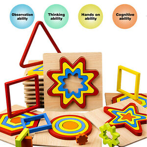 4 Pcs Educational Wooden Toys Kids Puzzle Toddler Learning Jigsaw Funny Toy Gift