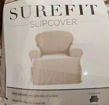 Surefit T-Chair Slipcover Sailcloth Natural 100% Cotton