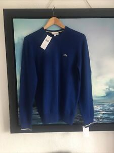 Lacoste Blue Cotton Jumper Size Small FR 3 New With Tags Men's
