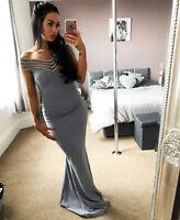 New Womens Quiz grey Bardot Fishtail Maxi Evening Ladies Dress RRP 59.99 ❤