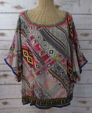 Haute Curry Womens Large Batwing Embroidered Multi-Color Boho Peasant Tunic L