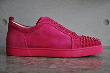 Christian Louboutin Louis Junior Spikes Flat Veau Velours Rosa Pink 9.5 UK